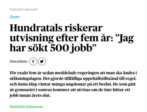"""I media: Hundratals riskerar utvisning efter fem år: """"Jag har sökt 500 jobb"""""""